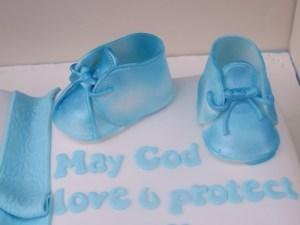 Blue Booties handmade cake topper