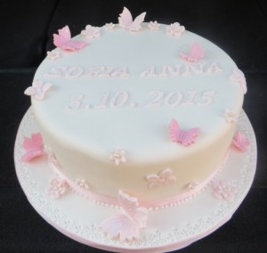 Pink Butterflies and Flowers Christening Cake