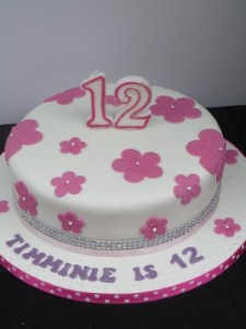 Pink flowers 12th Birthday cake
