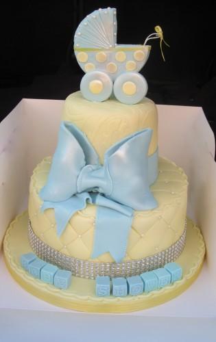 Blue Pram topper baby shower cake