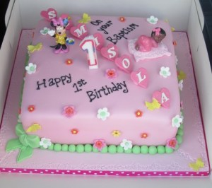 Baby Minnie mouse 1st Birthday and Christening Cake