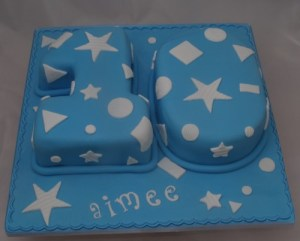 number 10 birthday cake with shape cut outs