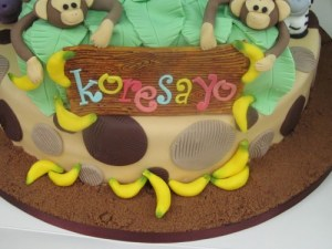 Fondant Bananas cake detail