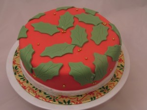 Christmas cake with holly leaves