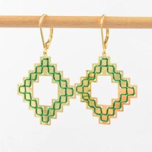Boucles d'oreilles Nejjarine vert sapin