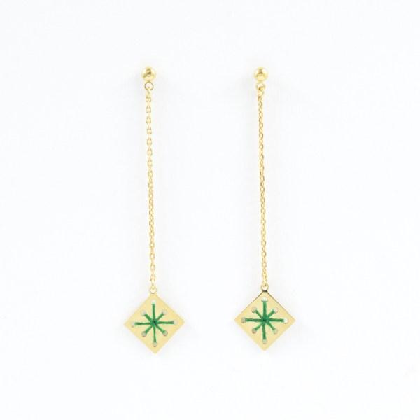 Boucles d'oreilles pendantes Ménara vert sapin