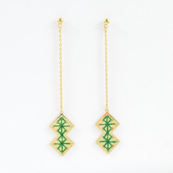 Boucles d'oreilles pendantes chouara vert sapin