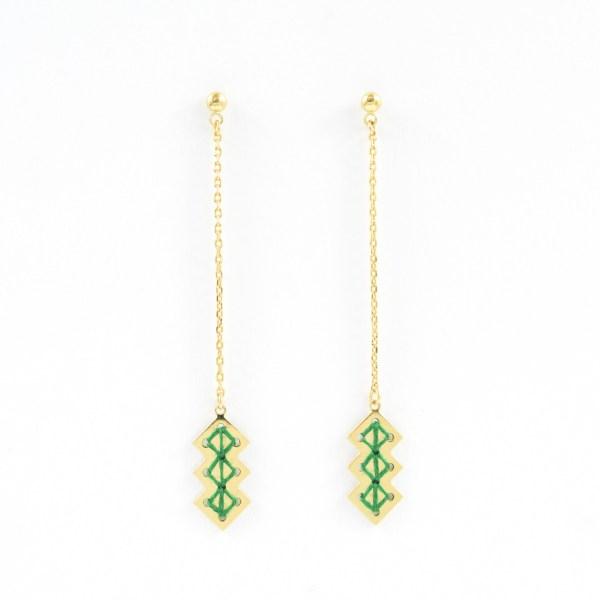 Boucles d'oreilles pendantes Mellah vert sapin