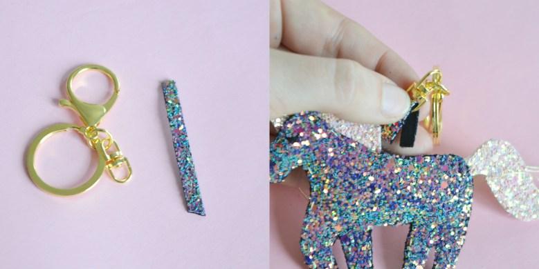 DIY porte-clés licorne à paillettes