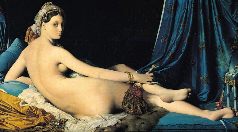 "Jean-Auguste-Dominique Ingres, La Grande Odalisque, 1814, Oil on canvas, 36"" x 63"" (91 x 162 cm), (Musée du Louvre, Paris)"