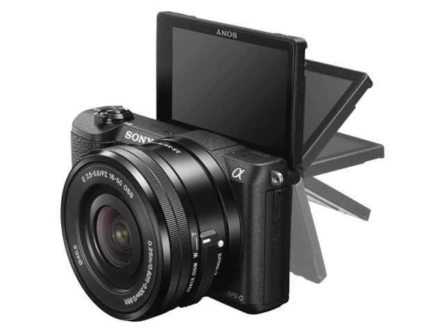The new Sony a5100 has an articulating rear screen up and down.