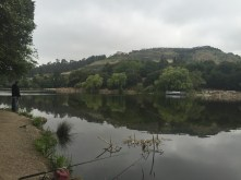 Walking along Lake Temescal