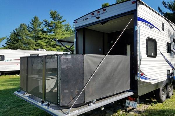 rv toy hauler patio fence turn your