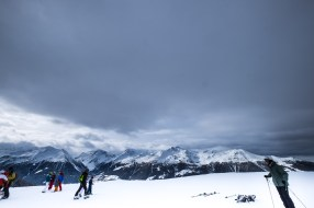 Joseph's snowboard instructor was spot-on — the approaching clouds brought heavy snow.