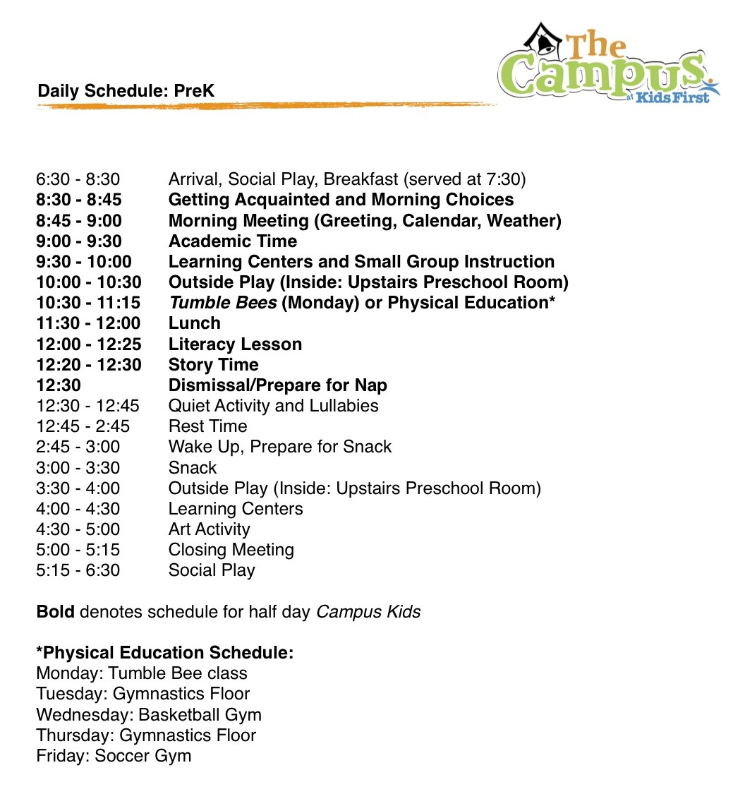 Prek Daily Schedule