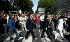 Come together: fans recreate Beatles' Abbey Road photo 50 years on