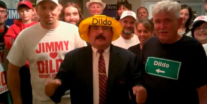 Jimmy Kimmel's sidekick Guillermo Rodriguez does Dildo Nfld— reluctantly