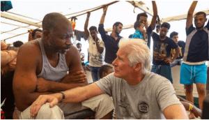 Richard Gere visits migrants stuck at sea in the Mediterranean