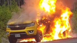 This man still wonders why his pickup exploded in a ball of flames