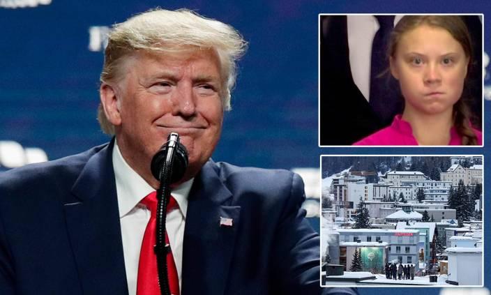 Donald Trump and climate activist Greta Thunberg face off at Davos
