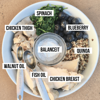 Ingredients in Chicken in Quinoa Homemade Dog Food: chicken breast, chicken thigh, spinach, blueberries, quinoa, fish oil, walnut oil, balanceIT
