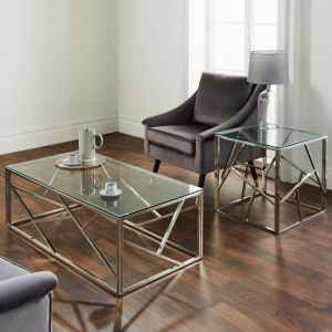 Geometric Plated Coffee Table Silver or Gold