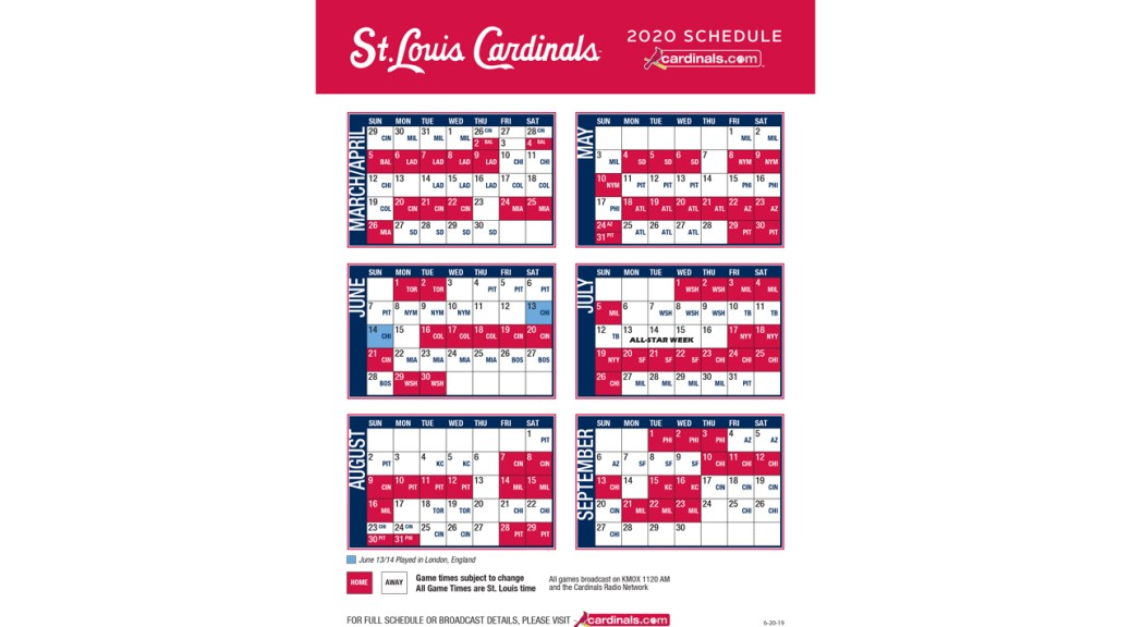 77a5814d St. Louis Cardinals Announce 2020 Schedule | The Cardinal Nation