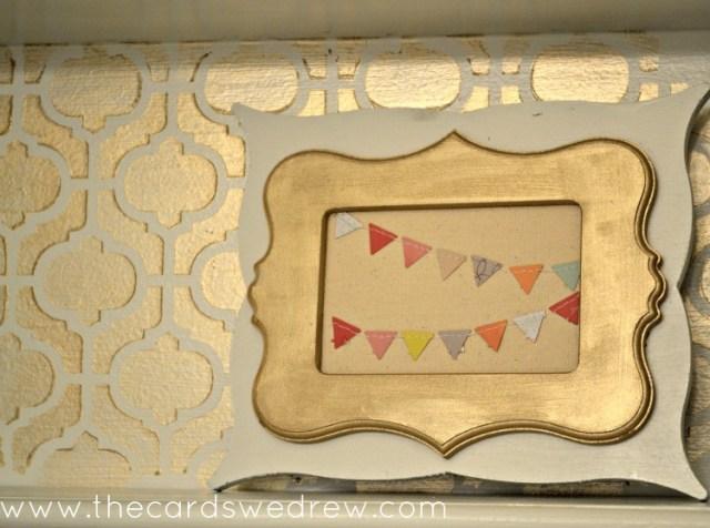 bathroom frame with stenciled shelf