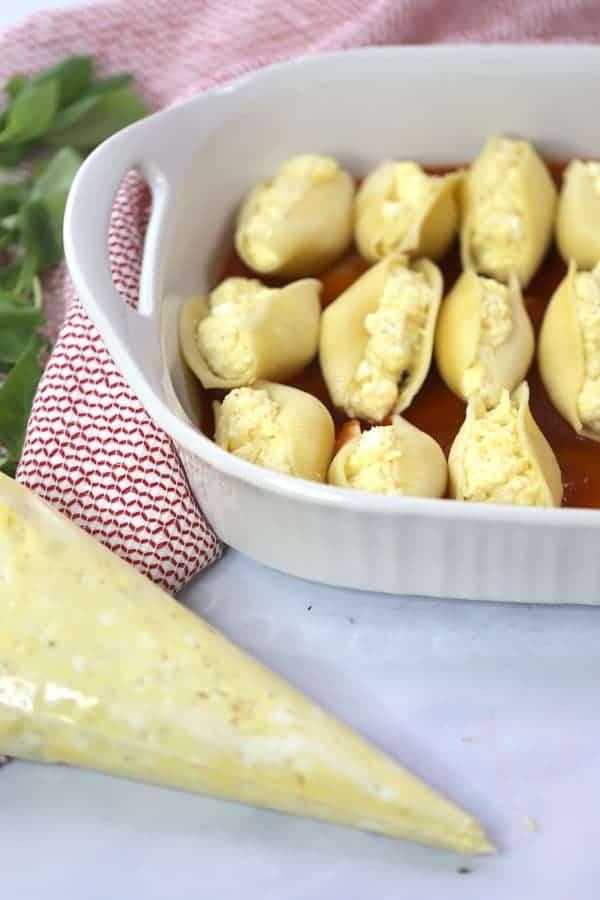 4 Cheese Stuffed Pasta Shells with homemade marinara sauce