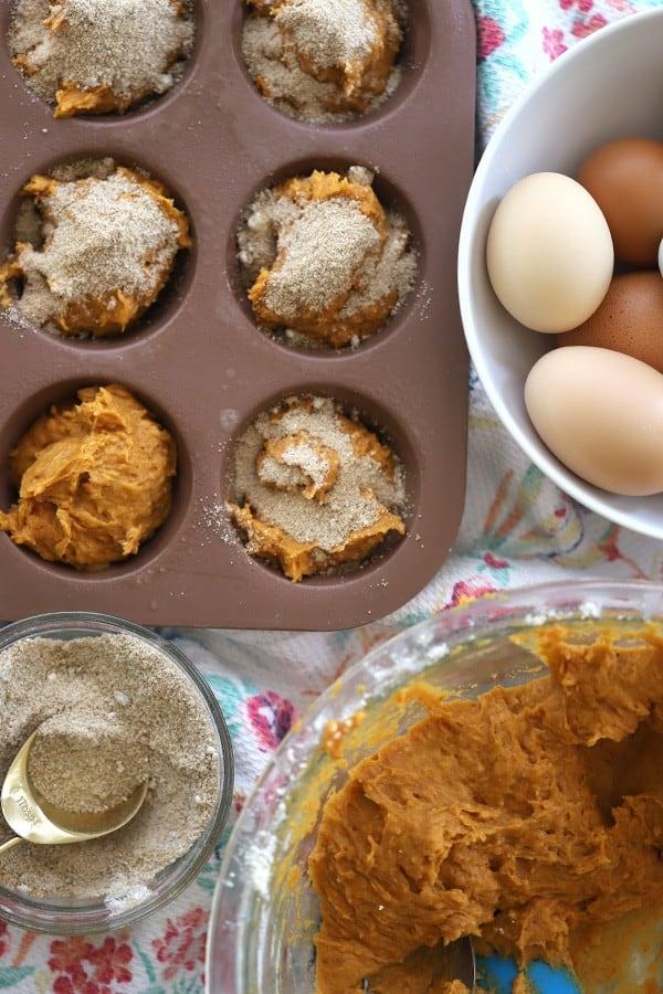 Einkorn pumpkin muffin recipe, prepared and ready to bake