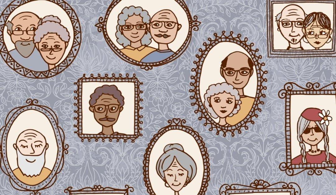 framed images of elderly people