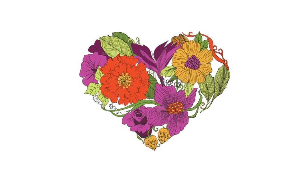 illustration of a heart composed of flowers
