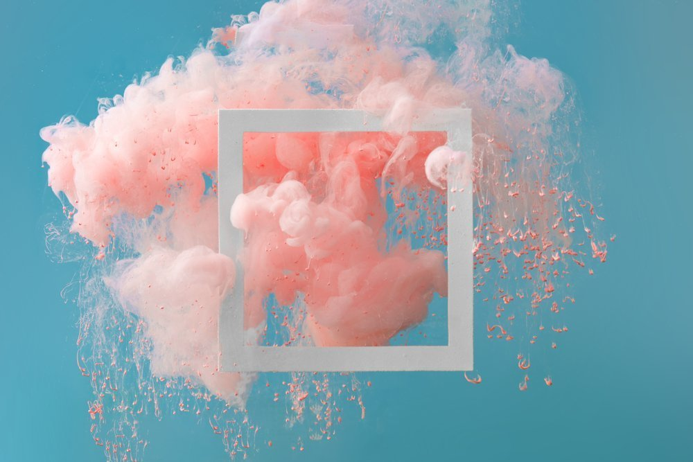 Abstract pastel pink color paint with pastel blue background