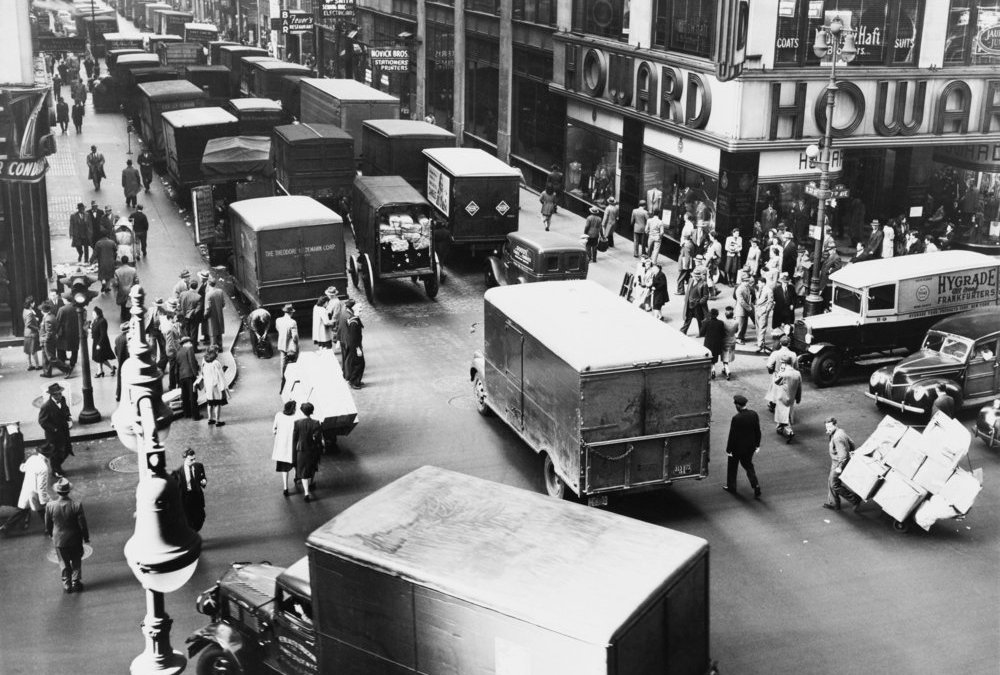 editorial use only. Delivery trucks jamming West 37th Street looking west from 7th Avenue New York City 1945