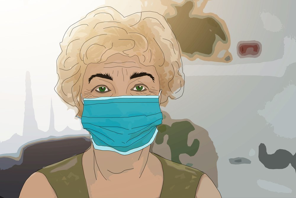 An elderly woman in a medical mask on her face. Elderly woman in a medical mask worries about coronavirus. illustration.