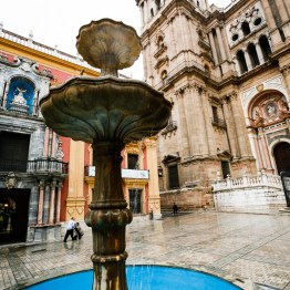 Fountain In Front Of Malaga Cathedral, Malaga, Spain