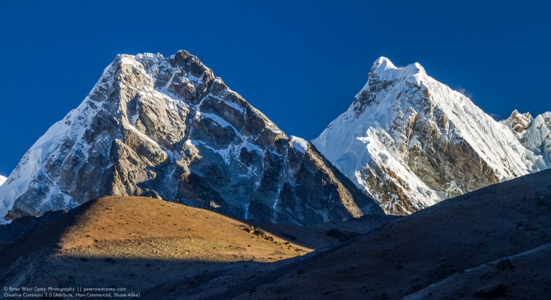 Two Himalayan Peaks In Morning Sun Light, Machermo, Solukhumbu,