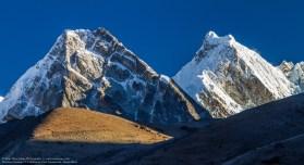 Two Himalayan Peaks In Morning Sun Light, Machermo, Solukhumbu,