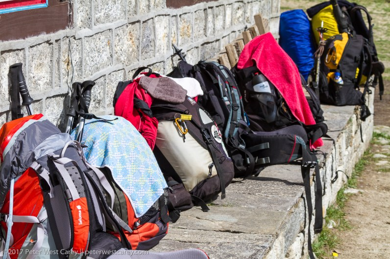 Rucksacks kept in a row - Nepal
