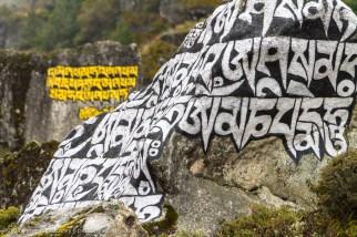 Close up of prayer stone - Nepal