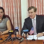 Guyana's Foreign Minister, Carolyn Rodrigues Birkett and US Ambassador to Guyana, Brent Hardt.
