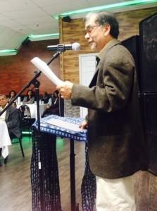 Award-winning writer Rabindranath Maharaj reading from his forthcoming novel at the PAKARAIMA Writers Group 10th Annual Literary Dinner.
