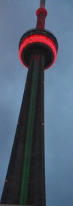 For the first time, the CN Tower glows in red, black and green for Black History Month. Gerald. V. Paul photo.