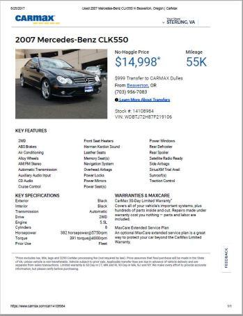 2007 CLK550 $14,998 55k