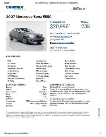 2007 E550 $20,998 23k