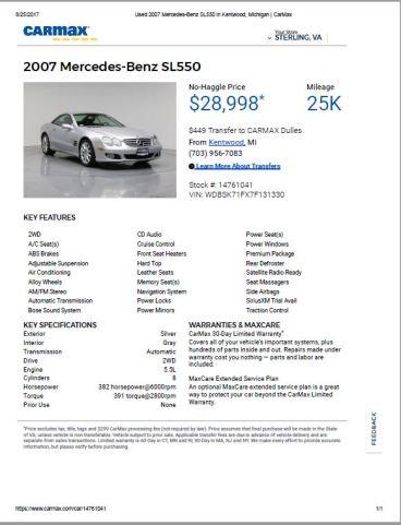2007 SL550 $28,998 25k