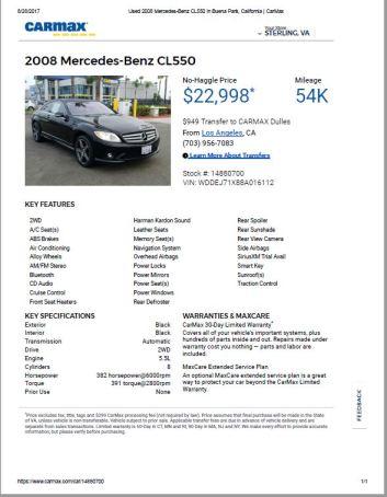 2008 CL550 $22,998 54k