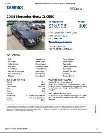 2008 CLK550 $18,998 30k RIP