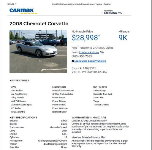 2008 Corvette $28,998 9k