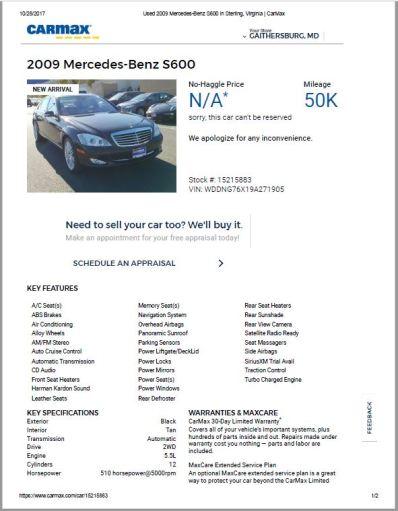 2009 s600 $30,998 50K